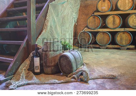 Hvar Croatia - 07.15.2018 Wine Tasting And Winery Tour Croatia From Hvar. Wine Cellar With Barrels.