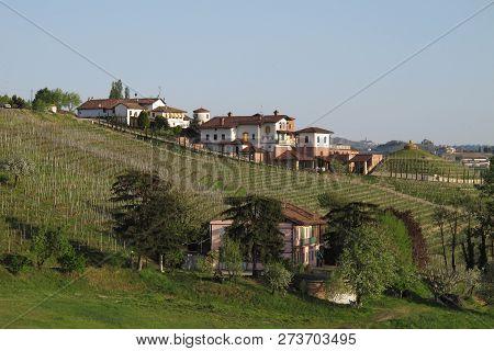 Piemonte, Italy 04-10-2011 The Vineyards And Fields Of The Piemonte Wine Region Of Northern Italy Ne