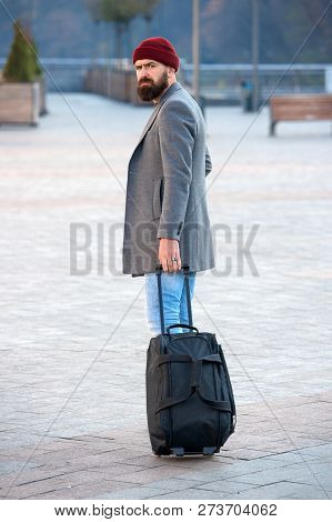 Traveler With Suitcase Arrive Airport Railway Station Urban Background. Hipster Ready Enjoy Travel.