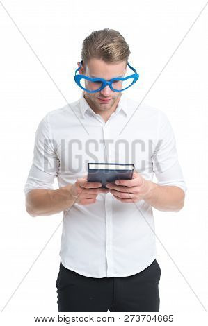 Romantic Poetry Concept. Man Handsome Well Groomed Guy Wear Heart Shaped Glasses And Hold Book. Mach