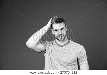 Beauty Care Advice Sportsman. Man With Bristle Satisfied Face In Sporty Wear Violet Background. Man