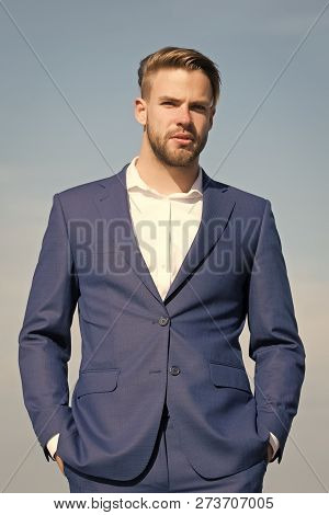Fashion, Style, Lifestyle. Businessman Stand On Blue Sky, Success. Man In Business Suit, Fashion. Su