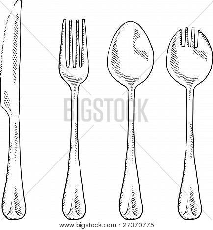 Eating utensils sketch