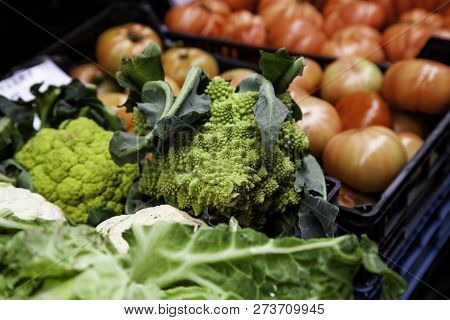 Fresh Romanesco In A Market, Vegetable Detail, Healthy Food And Diet