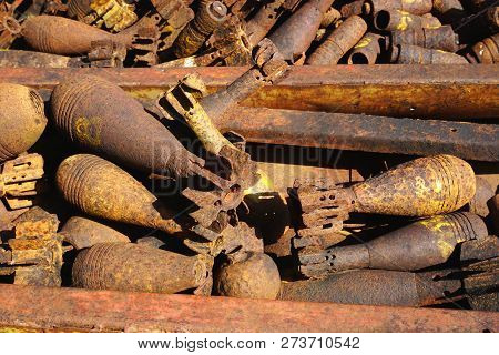 Closeup Of Rusty Salvaged Unexploded Bombs And Munitions Casings On Display In Rural Xieng Khouang P