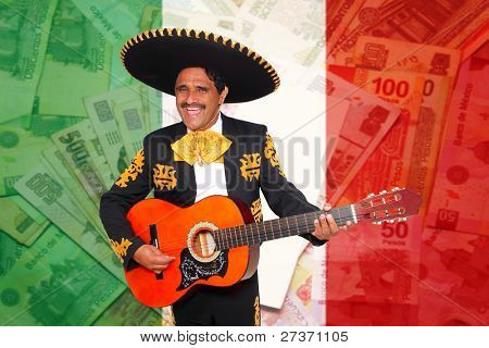 Charro Mariachi man playing guitar over mexican peso notes and flag background [ photo-illustration]