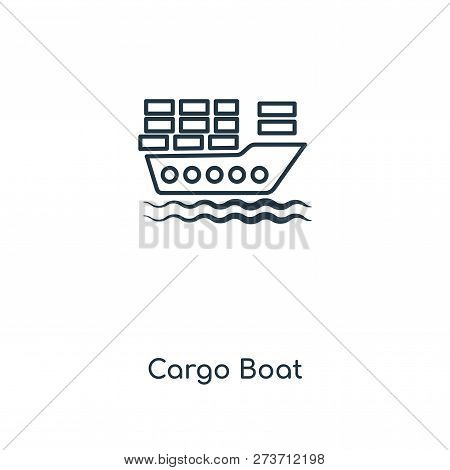 Cargo Boat Icon In Trendy Design Style. Cargo Boat Icon Isolated On White Background. Cargo Boat Vec