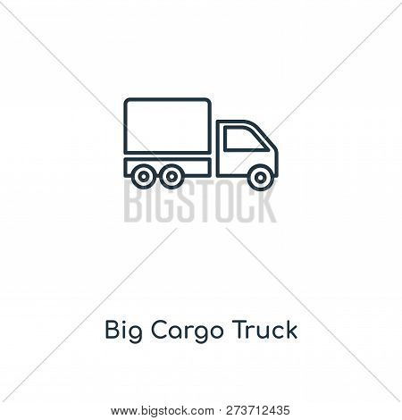 Big Cargo Truck Icon In Trendy Design Style. Big Cargo Truck Icon Isolated On White Background. Big