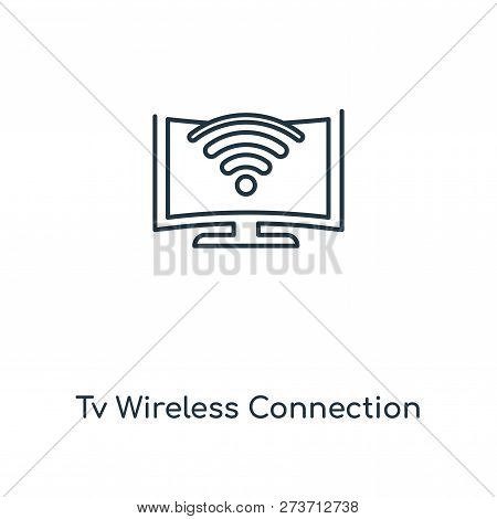 Tv Wireless Connection Icon In Trendy Design Style. Tv Wireless Connection Icon Isolated On White Ba