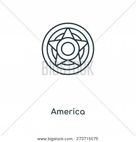America Icon In Trendy Design Style. America Icon Isolated On White Background. America Vector Icon