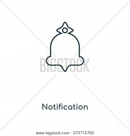 Notification Icon In Trendy Design Style. Notification Icon Isolated On White Background. Notificati