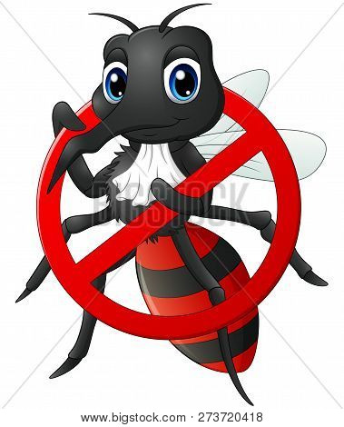 Vector Illustration Cartoon Of The Stop Mosquito