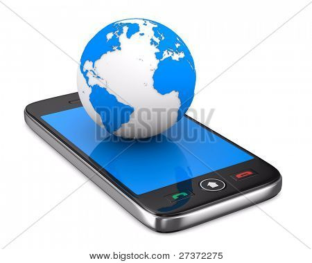 phone and globe on white background. Isolated 3D image