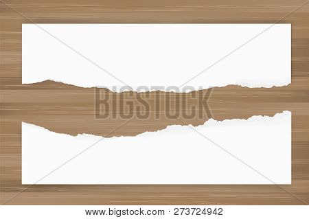 Ripped Paper Background On Brown Wood Texture. Torn Paper Edge With Area For Copy Space. Vector Illu