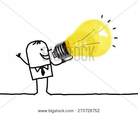 Hand drawn Cartoon man Using a Big light Bulb as a Loudhailer