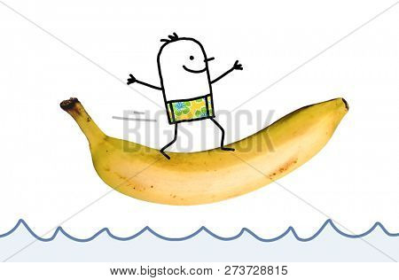 Hand Drawn Happy Cartoon Man Surfing on a big Banana