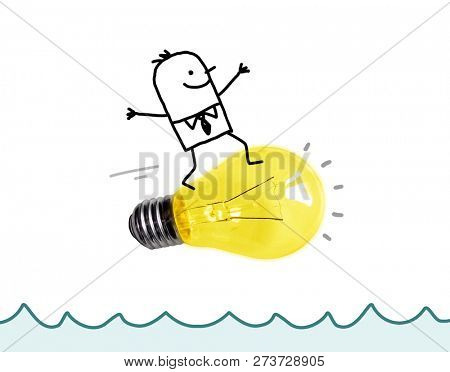 Hand Drawn Cartoon Man Surfing on a big Light Bulb