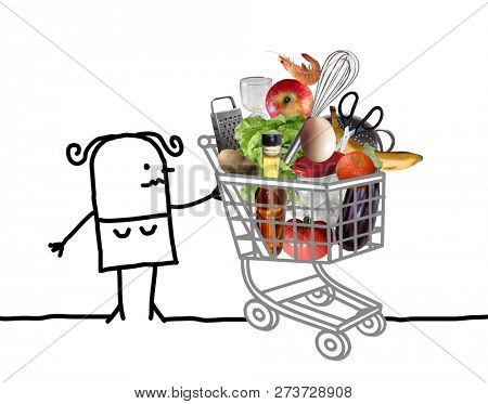 Hand Drawn Cartoon Woman with Full Shopping Cart