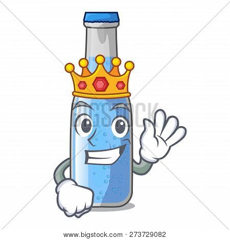 King Bottle Soda Water Isolated On Mascot