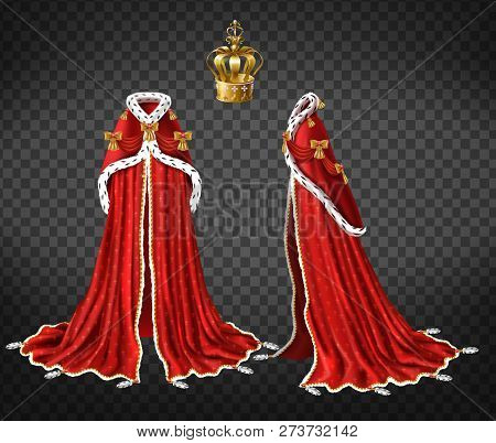 Queens Or Princes Royal Robe With Red Cape And Mantle Trimmed Ermine Fur And Precious Gold Crown Dec