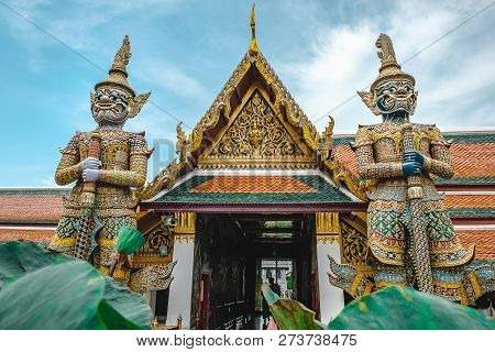 Giant Of Wat Phra Kaew, Giant Protector Stupa Place And Holy Building For The Sake Of Buddhism To Be