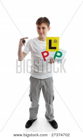 Teenager Holding Car Key And Learner Licence Plates