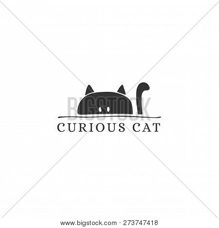 Vector Hand Drawn Logo Template For Pets Related Business. Head Of A Happy Cat. Illustration For Pet