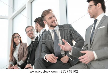 Cheerful employers working in office concept