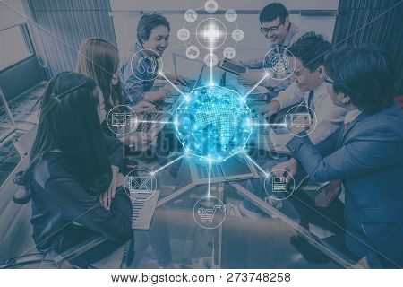 Group Of Asianbusiness People In Casual Suit Working And Meeting With Happiness Action For Online Sh