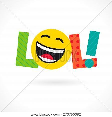 Lol! Word Icon. Comic Emotional Web Text Lol And Big Smiling Laughing Face. Bright Dynamic Inscripti