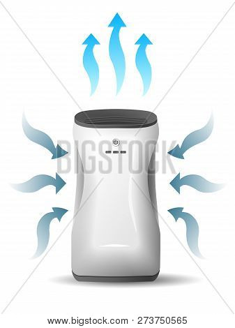 Air Purifier, Isolated, On White Background, Vector Image. Home Device For Air Purification.
