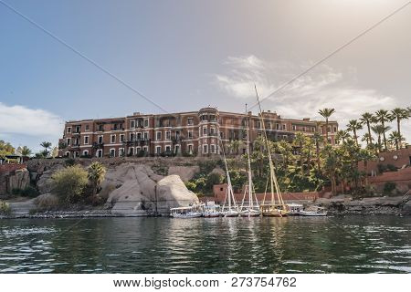Aswan/egypt - 01/23/2018: The Sofitel Legend Old Cataract Hotel, Also Known As The Old Cataract Hote