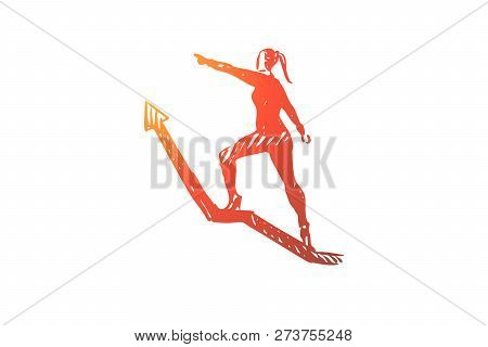 Leader, Boss, Director Vector Concept. Woman Climbing Up Arrow. Hand Drawn Sketch Isolated Illustrat