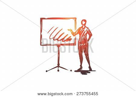 Presentation, Woman, Board, Business, Report Concept. Hand Drawn Woman Making Presentation Concept S