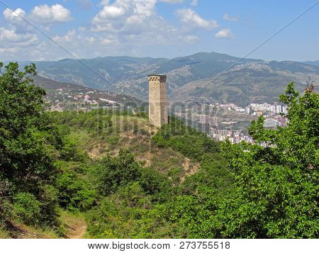 Tbilisi, Georgia: Svan Tower In Open Air Museum Of Ethnography And Tbilisi Cityscape On The Backgrou