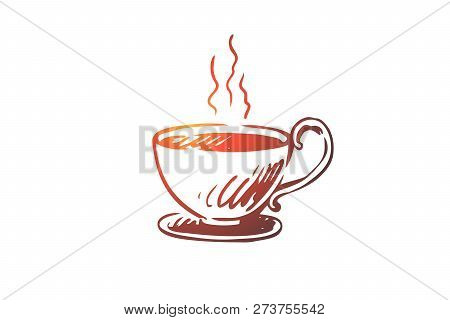 Cup, Coffee, Cappuccino, Hot, Americano Concept. Hand Drawn Cup Of Hot Drink Concept Sketch. Isolate