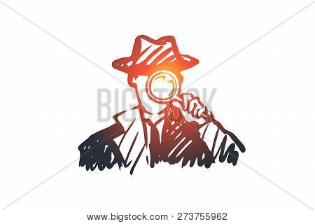 Detective, Weapon, Magnifying Glass, Inspector Concept. Hand Drawn Policeman Detective With A Magnif