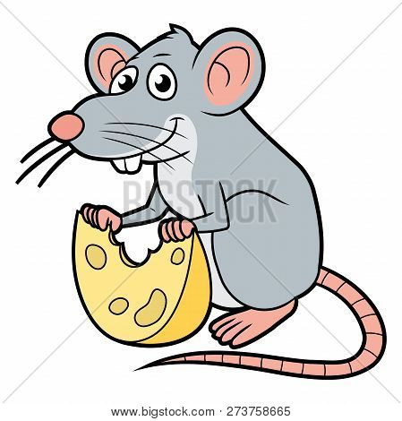 Cartoon Illustration Of A Rat With A Cheese