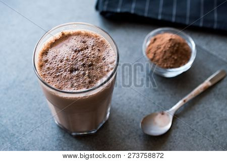Chocolate Protein Shake Smoothie With Whey Protein Powder