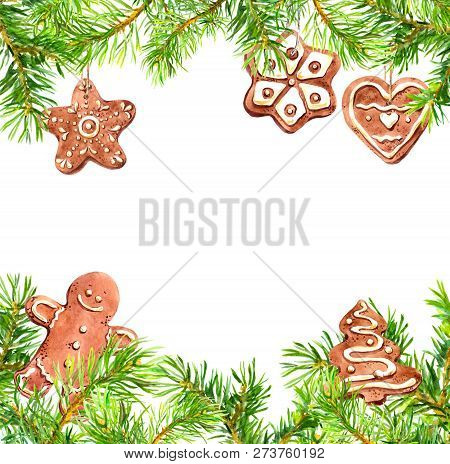 Christmas Cookies, Gingerbread Man, Conifer Tree Branches Frame. Christmas Card, Empty Blank. Waterc