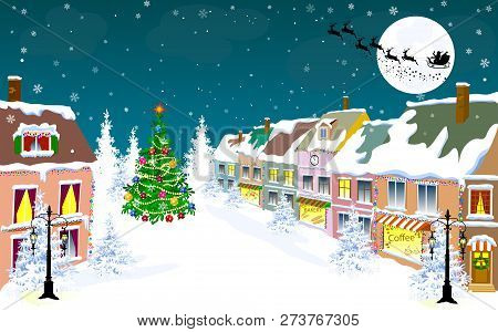 Winter City Landscape. Santa Claus On His Sleigh On The Background Of The Moon. City Street In Winte