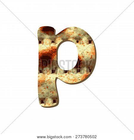 Rounded English Lowercase Letter P With Matza Texture. Font For Passover. Vector Illustration On Iso