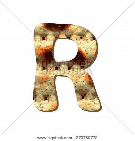 Rounded Capital English Letter R With Matza Texture. Font For Passover. Vector Illustration On Isola