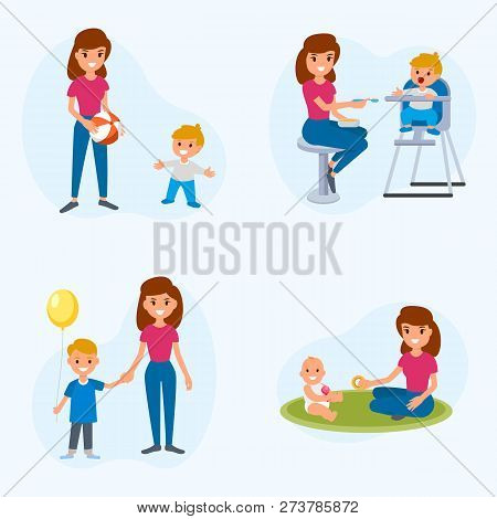 Babysitter Deals With Children. The Nanny Feeds, Walks With The Child, Plays With The Child. A Set O