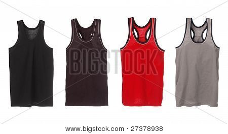 Four Sport Tank Tops. Black, Brown, Red And Grey.