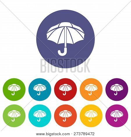 Nylon Umbrella Icons Color Set Vector For Any Web Design On White Background
