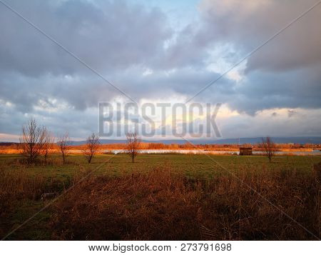 Colorful Tranquil Countryside In Sunset, At Naszaly, Hungary
