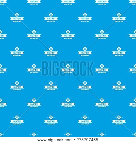Victorian Bastion Pattern Vector Seamless Blue Repeat For Any Use