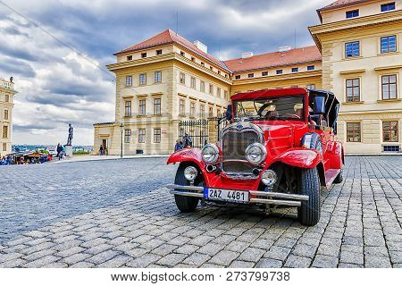 Prague, Czech Republic May-17 : Red Old Car Waiting For Tourists On The Street In Prague On May 17,