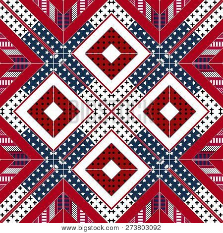 Abstract American Patchwork Pattern With Stars And Stripes